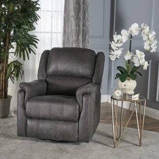 Noble House Tufted Microfiber Swivel Gliding Recliner,Slate