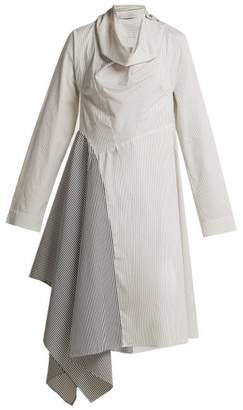 Palmer//harding - Solar Contrast Stripe Cotton Shirtdress - Womens - Blue White
