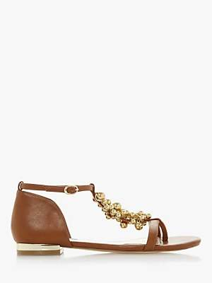 Dune Hobart Beaded Strap Sandals, Tan