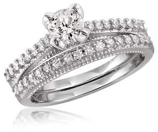 Diamonice 1 1/3 Carat T.W. White Cubic Zirconia Sterling Silver Ring