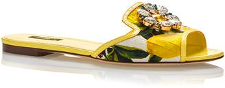 Dolce & Gabbana Leather Lemon Printed Slide with Jewel Toe $795 thestylecure.com