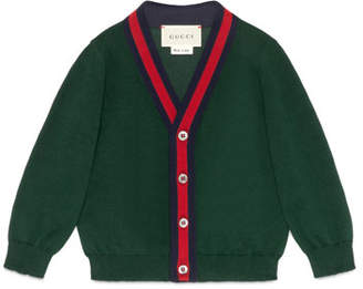 Gucci Cotton Button-Front V-Neck Cardigan, Green/Red, Size 6-36 Months