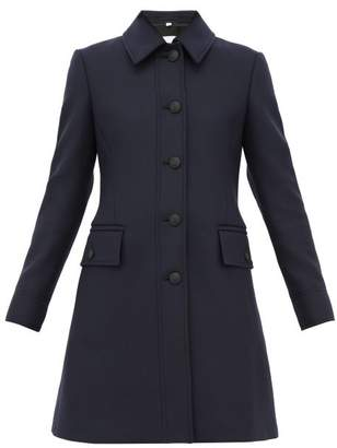 Burberry Angus Single Breasted Wool Blend Coat - Womens - Navy