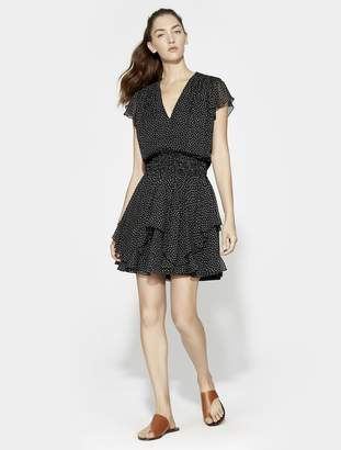 Halston Printed Ruched Waist Flounce Dress