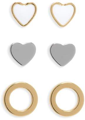 CHARM IT!® 3-Pack Heart Sterling Silver Earrings