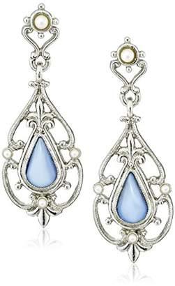 Downton Abbey Boxed Silver-Tone Filigree and Imitation Moonstone Drop Earrings