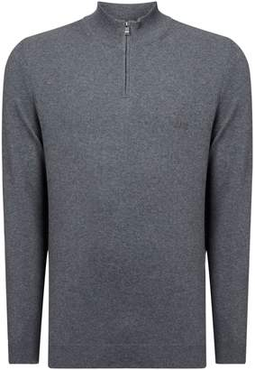HUGO BOSS Men's Padro Logo Cotton Quarter Zip Neck Jumper