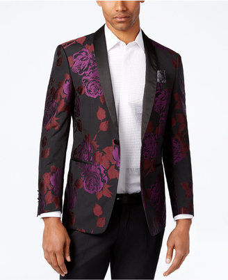 Tallia Black, Purple and Red Floral Print Slim-Fit Big and Tall Dinner Jacket $375 thestylecure.com