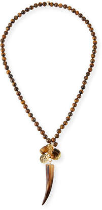 """Nest Jewelry Beaded Tigers Eye Horn Pendant Necklace, 32""""L"""