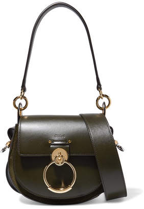 Chloé Tess Leather And Suede Shoulder Bag - Dark green