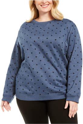 Karen Scott Plus Size Dotted Fleece Crewneck Top