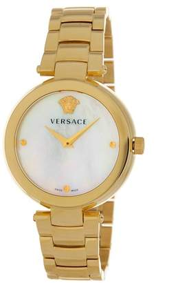 Versace Men's Ion Plated Yellow Gold Case White Dial Watch, 38mm