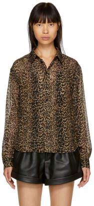 Saint Laurent Tan and Black Leopard Two-Pocket Shirt