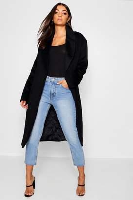 boohoo Tall Belted Oversized Wool Look Coat