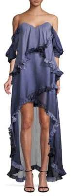 Caroline Constas Melina Silk High-Low Ruffled Dress