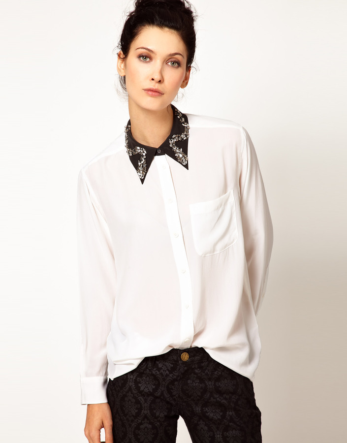 Equipment Daddy Oversized Silk Shirt with Embellished Collar