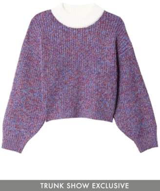 Tibi Wool Tweedy Cropped Pullover in Blue Multi TS