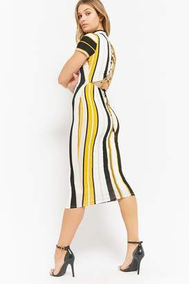 Forever 21 Striped Lace-Up Maxi Dress