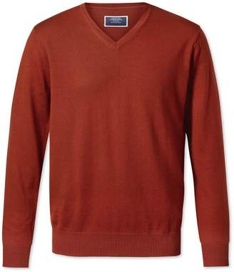 Charles Tyrwhitt Rust V-Neck Merino Wool Sweater Size Medium