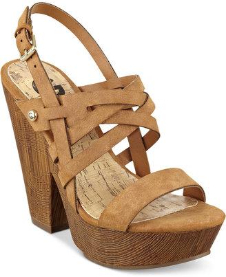 G by GUESS Saint Wooden Platform Sandals $59 thestylecure.com