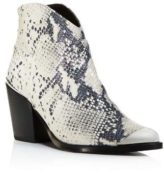 Aqua Women's Pose Pointed-Toe Snake Skin-Embossed Leather Mid-Heel Booties - 100% Exclusive