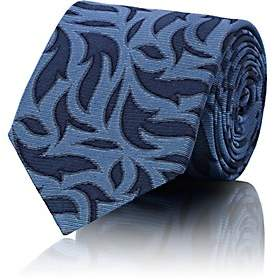 Barneys New York MEN'S FLAME-PATTERN SILK NECKTIE-BLUE