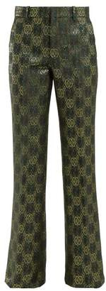 ae3617ebd Gucci Gg Jacquard Flared Trousers - Womens - Green Multi