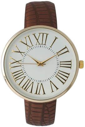 OLIVIA PRATT Olivia Pratt Womens Gold-Tone White Dial Brown Croc-Embossed Leather Strap Watch 14328