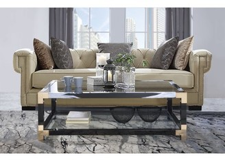 Acme Lafty Coffee Table in White Brushed, Black, Gold and Clear Glass