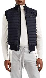 Moncler Men's Down-Quilted Cotton-Blend Zip-Front Vest - Navy