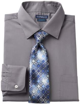 Croft & Barrow Men's Fitted Stretch-Collar Dress Shirt and Patterned Tie Boxed Set