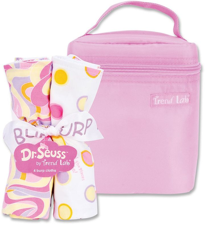 "Trend Lab Dr. seuss ""oh, the places you'll go!"" 5-pc. bottle bag & burp cloth set by pink"