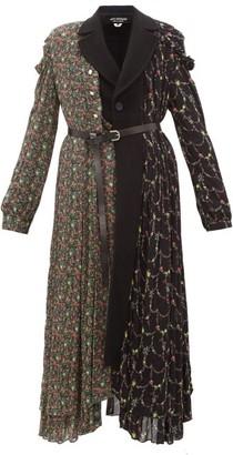 Junya Watanabe Floral Print Wool Blend And Crepe Coat - Womens - Black Multi