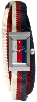Gucci Silver and Tricolor G-Frame Watch