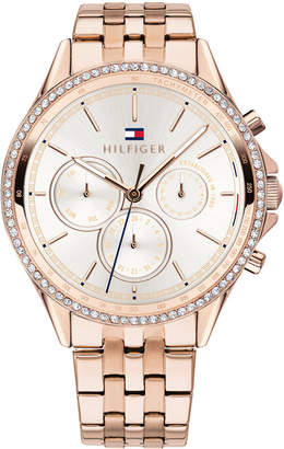 Tommy Hilfiger Women Rose Gold-Tone Stainless Steel Bracelet Watch 38mm