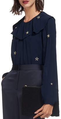 Whistles Star-Embroidered Ruffled Top