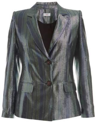 Wolf & Badger Vesper Blue Metallic Silk Suit Jacket