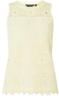 Dorothy Perkins Womens Lemon Daisy Lace Shell Top