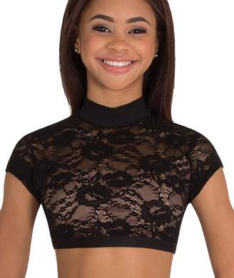 37472beee93 Body Wrappers Adult Lace Cap Sleeve Dance Crop Top LC9025BLKS