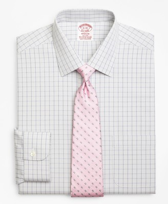 Brooks Brothers Stretch Madison Classic-Fit Dress Shirt, Non-Iron Houndstooth Overcheck