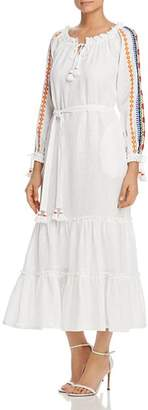 Tory Burch Embroidered-Sleeve Linen Dress