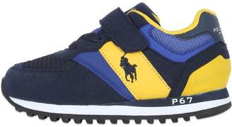 Ralph Lauren Cotton & Faux Leather Running Sneakers