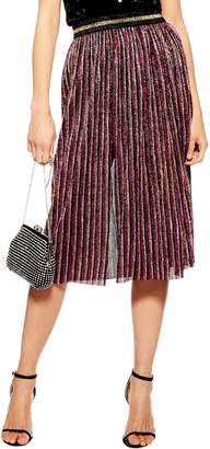 Topshop Metallic Plisse Midi Skirt