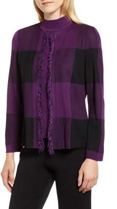 Ming Wang Check Jacquard Knit Jacket