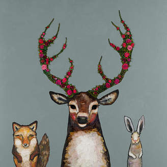 GreenBox Art Fox, Buck and Hare Palladian by Eli Halpin Painting Print on Wrapped Canvas