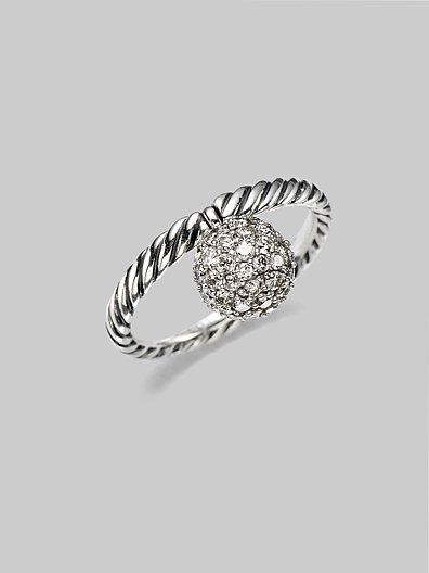 David Yurman Diamond Pave & Sterling Silver Stackable Ring
