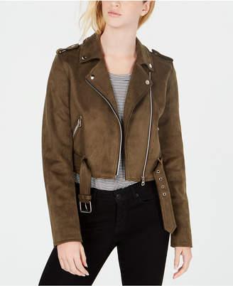 Coffeeshop Juniors' Faux-Suede Asymmetrical Moto Jacket