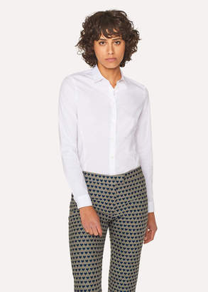 Paul Smith Women's White Slim-Fit Stretch-Cotton Shirt With 'Cycle Stripe' Cuff Linings