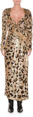 ATTICO Long-Sleeve Wrap-Front Leopard-Sequin Evening Dress