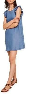 MANGO Ruffled Denim Shift Dress